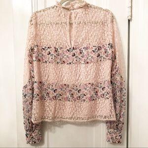 Nanette Lepore Tops - Nanette Lepore Jezebel blouse pink silk and lace
